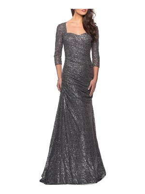 La Femme ruched sequin mermaid gown