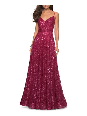 La Femme Sequin V-Neck Sleeveless A-Line Gown with Ruched Bodice