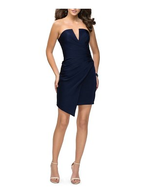 La Femme strapless asymmetrical party dress