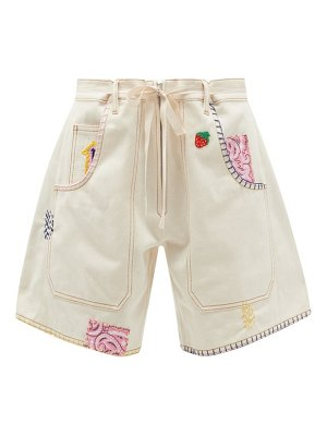 LA FETICHE jodie high-rise embroidered upcycled-denim shorts