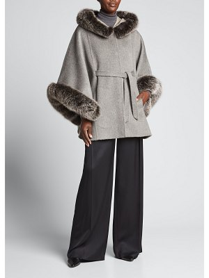 La Fiorentina Reversible Wool Hooded Poncho with Removable Fur Trim