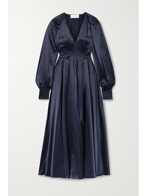 La Ligne gathered silk-charmeuse dress