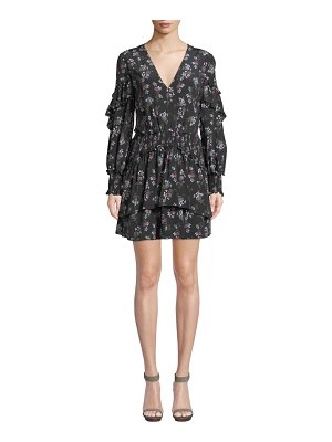 La Maison Talulah Chaleur V-Neck Long-Sleeve Floral-Print Silk Mini Dress