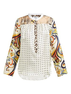 La Prestic Ouiston madame contrast panel silk blouse