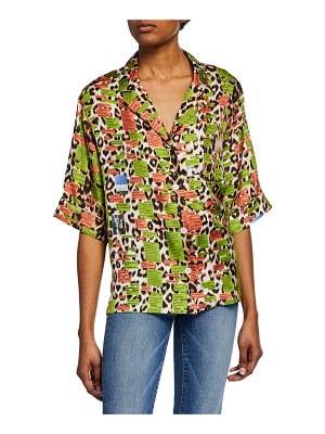 La Prestic Ouiston Text Panthere Short-Sleeve Button-Front Hawaii Shirt