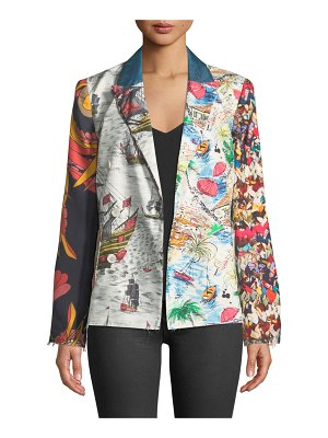 La Prestic Ouiston Tom Sawyer Long-Sleeve Mix-Print Silk Jacket