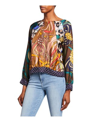 La Prestic Ouiston Yeye Multi-Print Long-Sleeve Silk Top