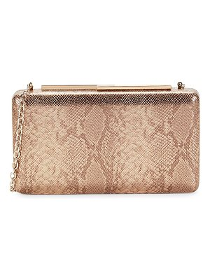 LA REGALE Metallic Faux Python Convertible Clutch