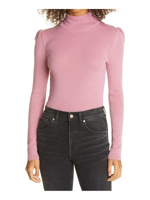 La Vie by Rebecca Taylor fitted wool & cotton mock neck sweater