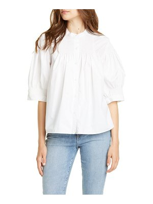 La Vie by Rebecca Taylor smocked puff sleeve blouse