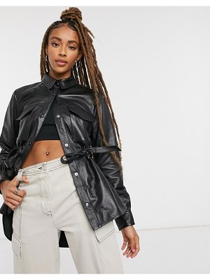 LAB LEATHER anorak shacket in black