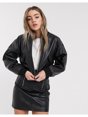 LAB LEATHER bomber leather jacket in black