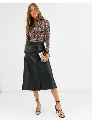 LAB LEATHER button front a-line midi skirt-black