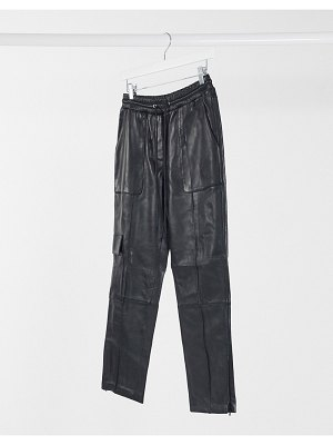 LAB LEATHER drawstring pants with pocket detail in black