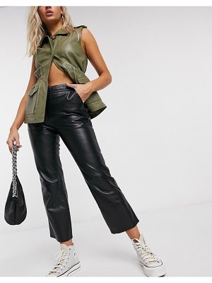 LAB LEATHER flare leather pants in black