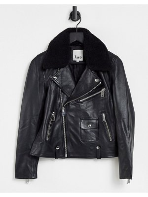 LAB LEATHER moto jacket with sherpa collar in black
