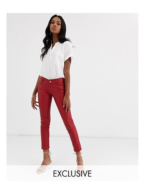 LAB LEATHER skinny fit pants-red
