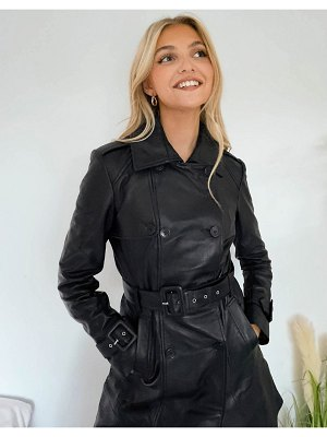 LAB LEATHER trench coat in black