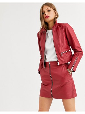 LAB LEATHER zip front retro jacket-red