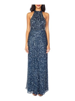 LACE & BEADS annie sequin halter gown
