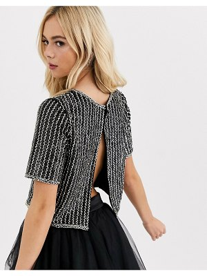 LACE & BEADS crop top with embellishment and open back in black and gold
