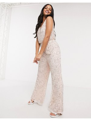 LACE & BEADS embellished jumpsuit in cream