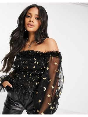 LACE & BEADS exclusive bardot ruffle top with sheer balloon sleeves in glitter moon print-multi