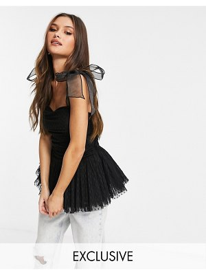 LACE & BEADS exclusive bow shoulder ruched peplum top in black dobby mesh