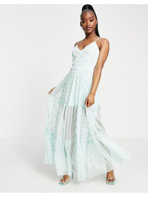 LACE & BEADS exclusive sheer overlay playing card dress in metallic mint-green