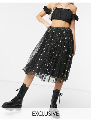 LACE & BEADS exclusive tulle midi skirt in black glitter moon print-multi