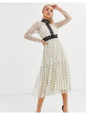 LACE & BEADS long sleeve polka dot midi dress with lace inserts in cream and black-multi