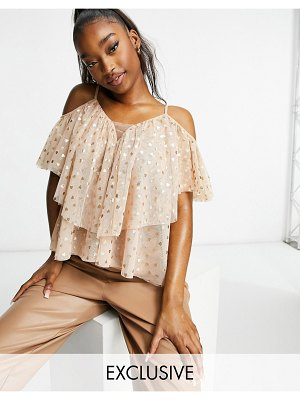 LACE & BEADS ruffle cold shoulder top in blush mini heart print-pink