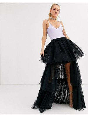LACE & BEADS tiered high low maxi skirt in black