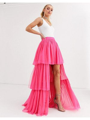 LACE & BEADS tiered high low maxi skirt in neon pink