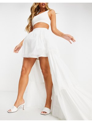 LACE & BEADS tiered high/low maxi skirt in white