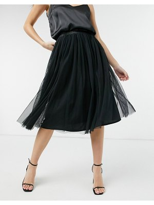 LACE & BEADS tulle midi skirt in black