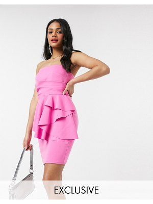 Laced In Love bandeau pencil mini dress with origami detail in pink