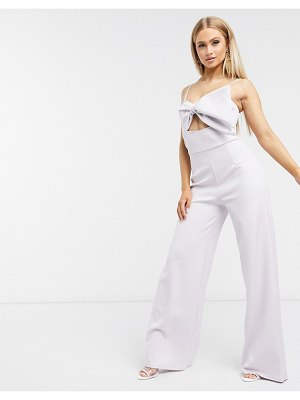 Laced In Love bow top jumpsuit in lilac-purple