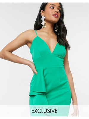 Laced In Love cami scuba dress with frill detail in green