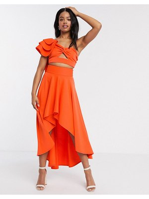 Laced In Love statement high low skirt two-piece in orange