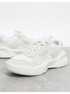 LACOSTE ace lift chunky overlay sneakers in off white mix