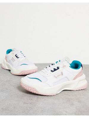 LACOSTE ace lift chunky overlay sneakers in white and pastel mix