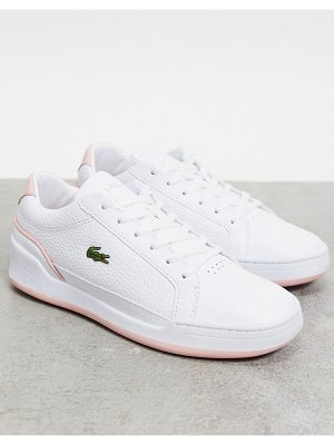 LACOSTE challenge cupsole sneakers in white with pink trim