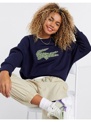 LACOSTE embroidered logo front sweatshirt in blue