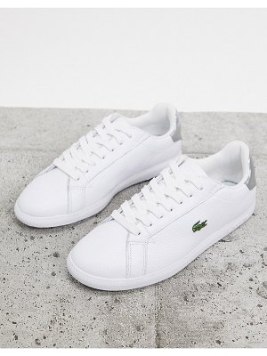 LACOSTE graduate 120 leather sneakers in white with silver tabs