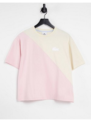 LACOSTE spliced t-shirt in pink and cream-white