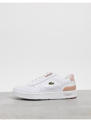 LACOSTE t-clip leather sneakers in white and pink