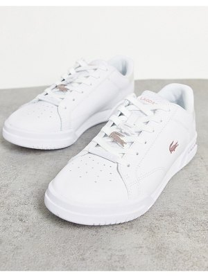 LACOSTE twin serve cupsole sneakers in white and iridescent
