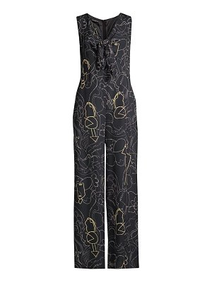 Lafayette 148 New York adelphi graphic v-neck jumpsuit