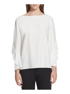 Lafayette 148 New York alessia pleated detail silk blouse